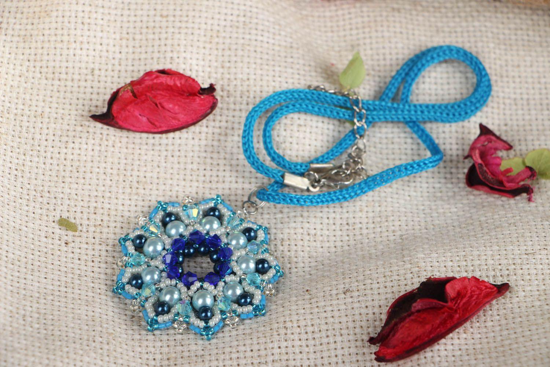 Blue beaded pendant Pearls photo 5