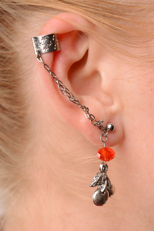 Metal cuff earrings Red Cherries photo 3