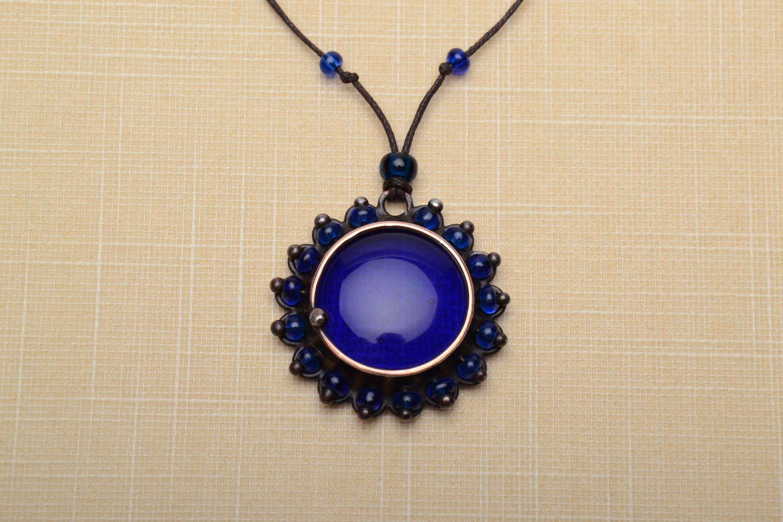 Designer copper pendant with blue glass photo 1