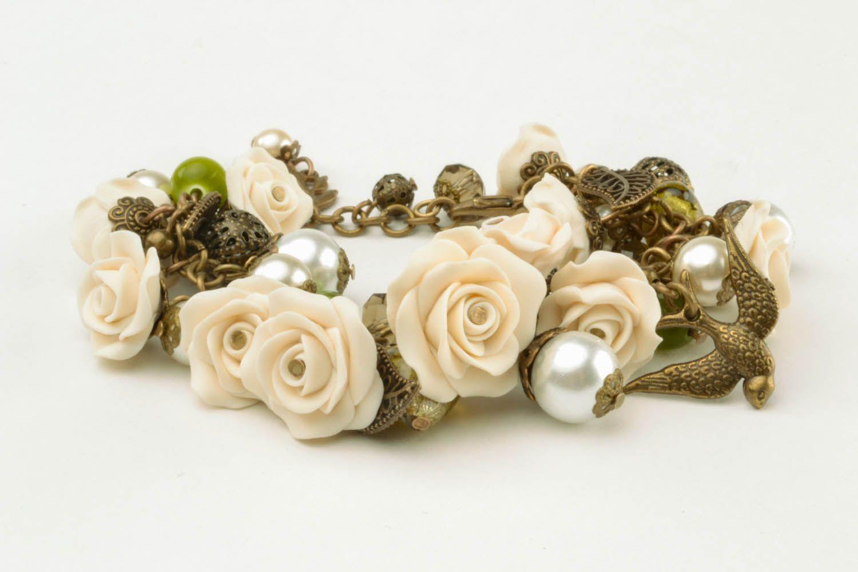 Armband aus Polymerton mit Blumen foto 1