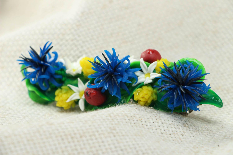 Polymer clay flower hair clip photo 2