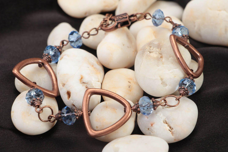 Handmade female bracelet wrist beaded accessory unusual stylish jewelry photo 2