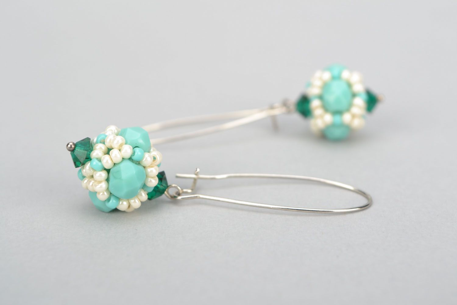 Earrings with Czech beads and glass photo 3