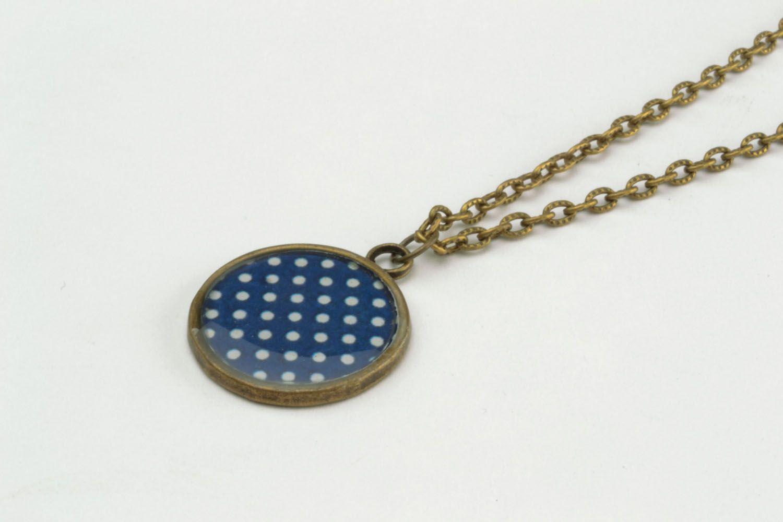 Polka dots pendant made of epoxy resin photo 3