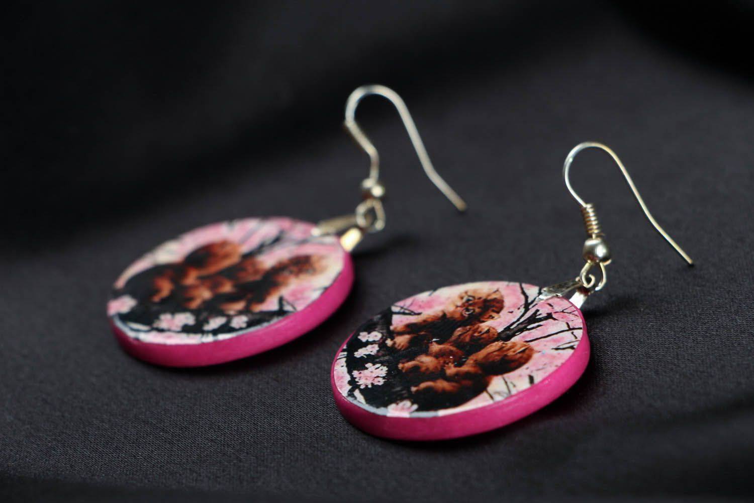 polymer clay earrings Round polymer clay earrings - MADEheart.com