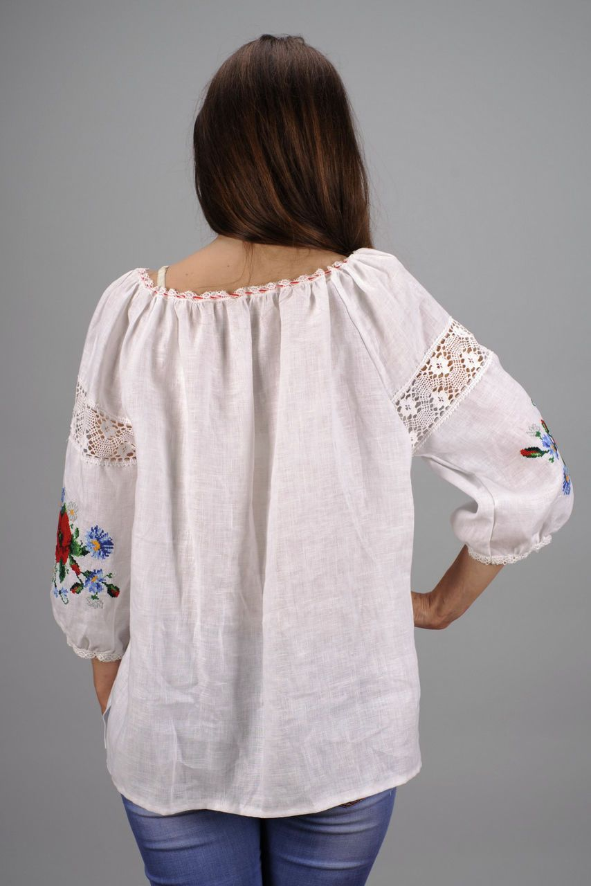 Linen embroidered shirt photo 4