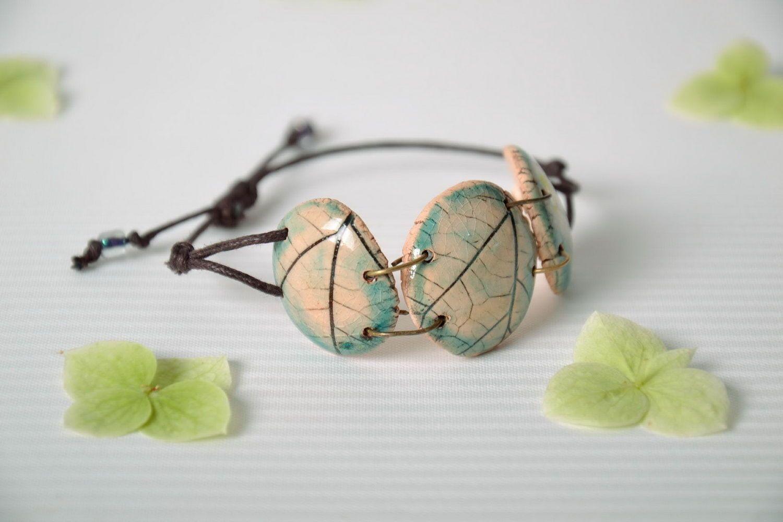 Joli bracelet en céramique fait main photo 1