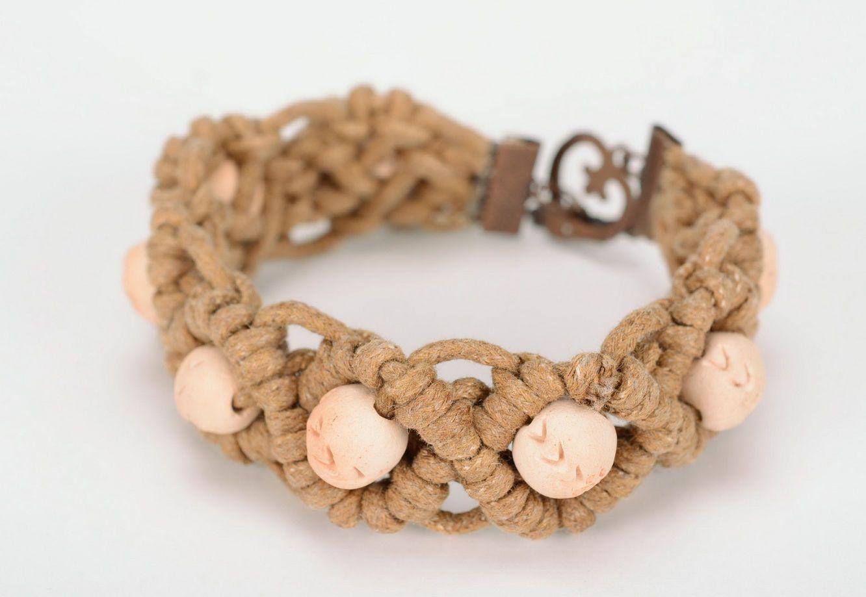 clay bracelets Braided bracelet, ceramics, cotton thread - MADEheart.com