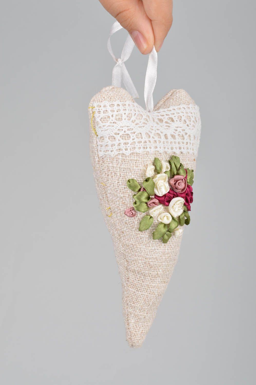 Unusual handmade designer linen fabric interior hanging sachet pillow with aroma photo 3