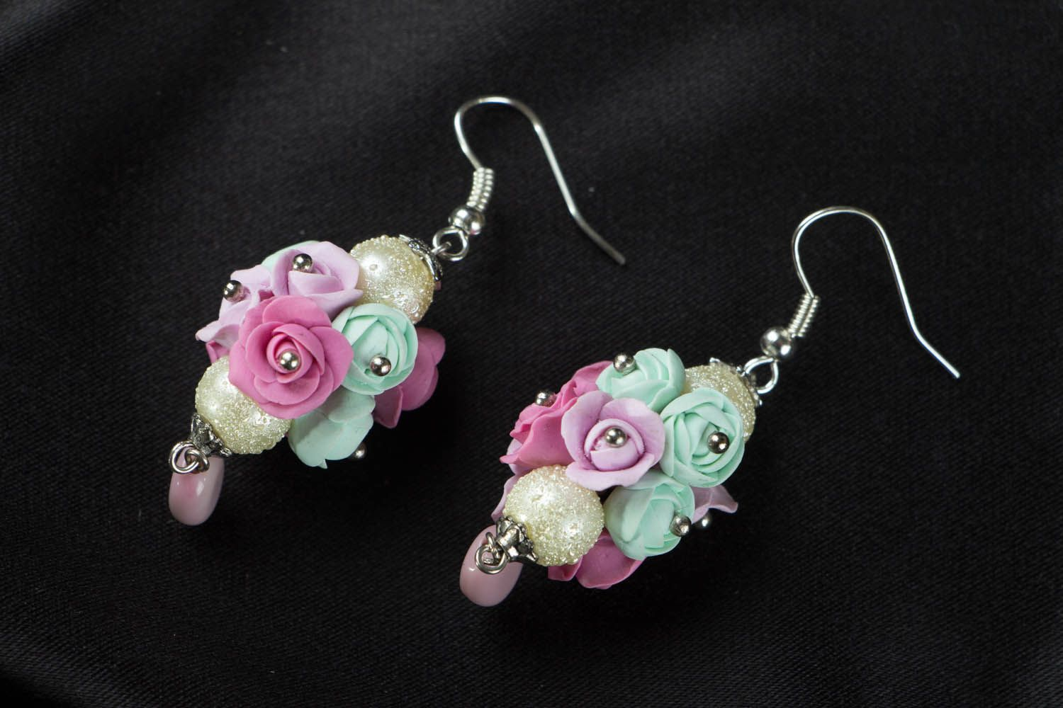Earrings with flowers made of polymer clay Roses photo 1