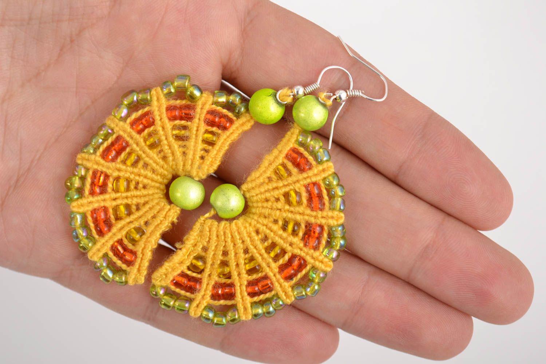 Handmade macrame earrings with beaded charms designer stylish summer accessory  photo 5