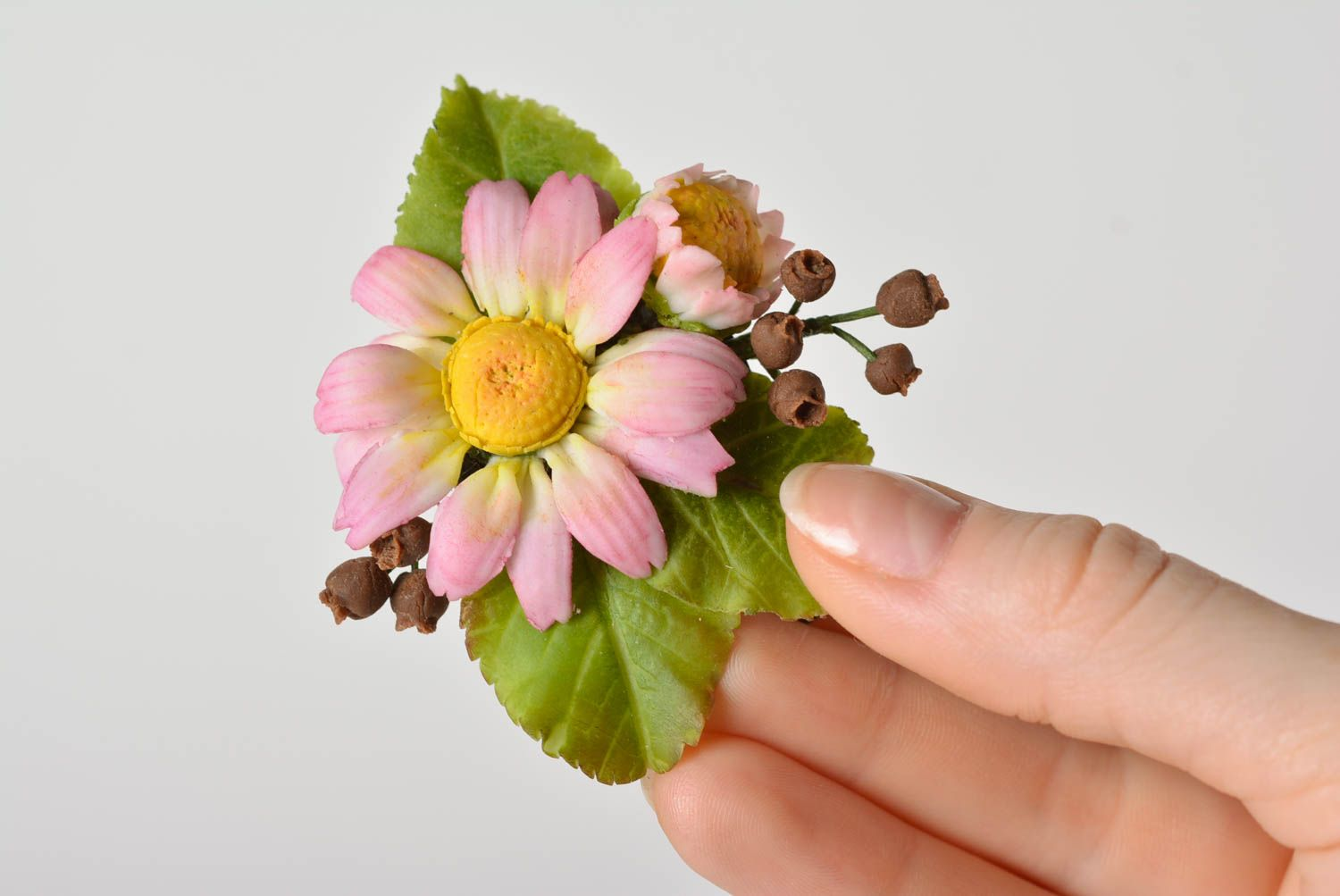 Handmade Japanese polymer clay brooch in the shape of tender floral composition photo 1