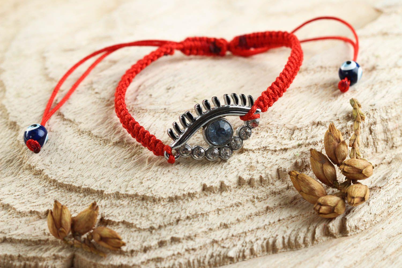Bracelet en fils Bijou fait main rouge tressé design fin Accessoire femme photo 1
