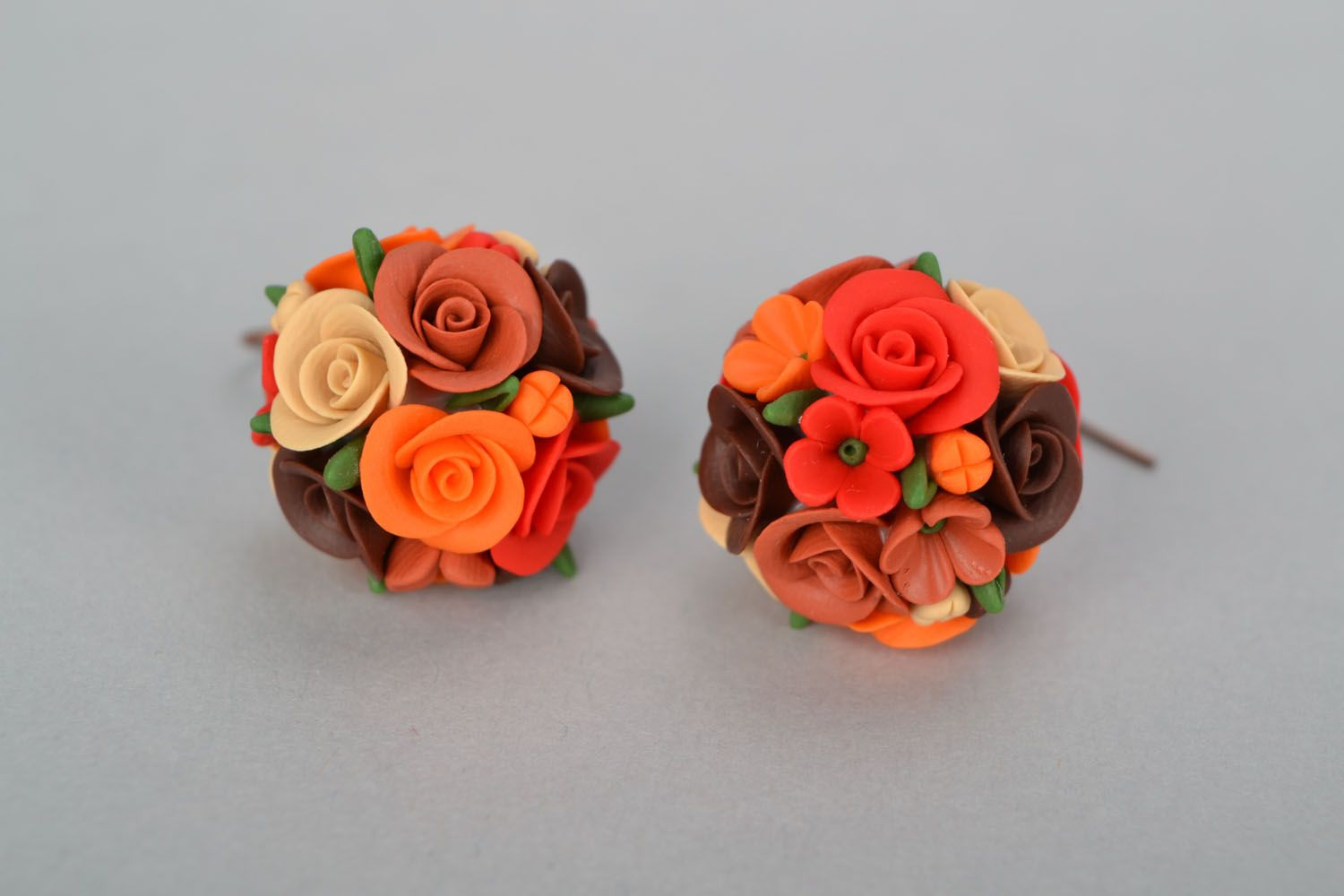 Handmade earrings Flower Balls photo 3