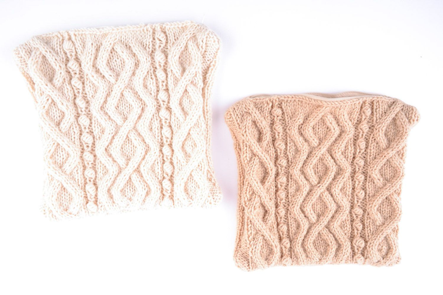 Set of light beige handmade semi-woolen knitted accent pillow cases 2 items - MADEheart.com
