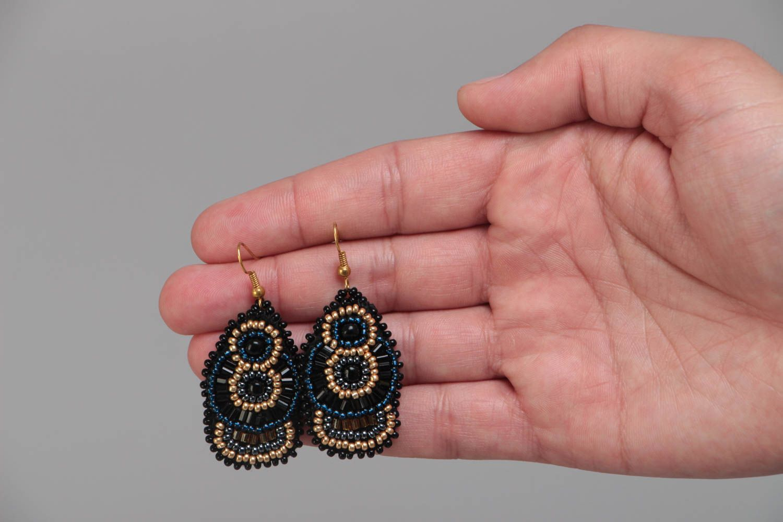 Large handmade designer woven beaded earrings on leather basis photo 5
