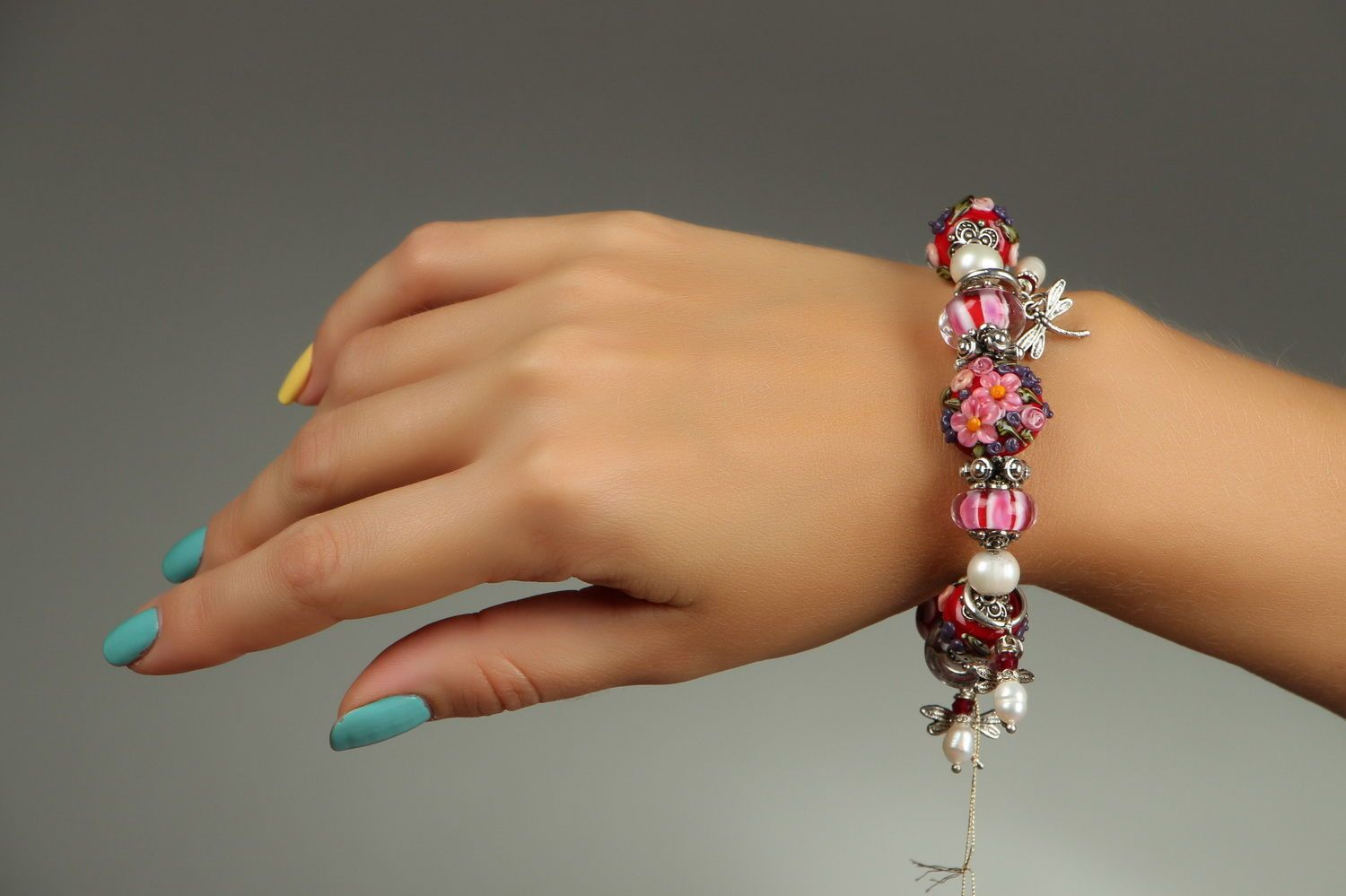 "Bracelet made of decorative glass ""August""-4"