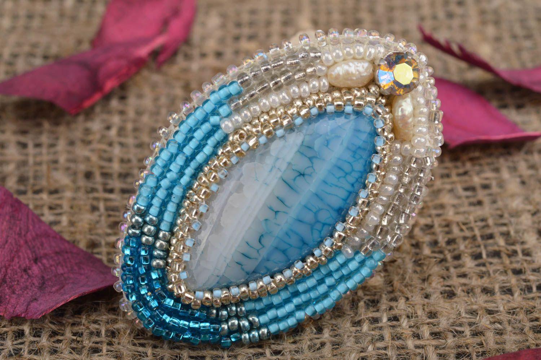 diseño moderno mejores ofertas en encontrar mano de obra Broche bordado con abalorios hecho a mano con piedras naturales ovalado