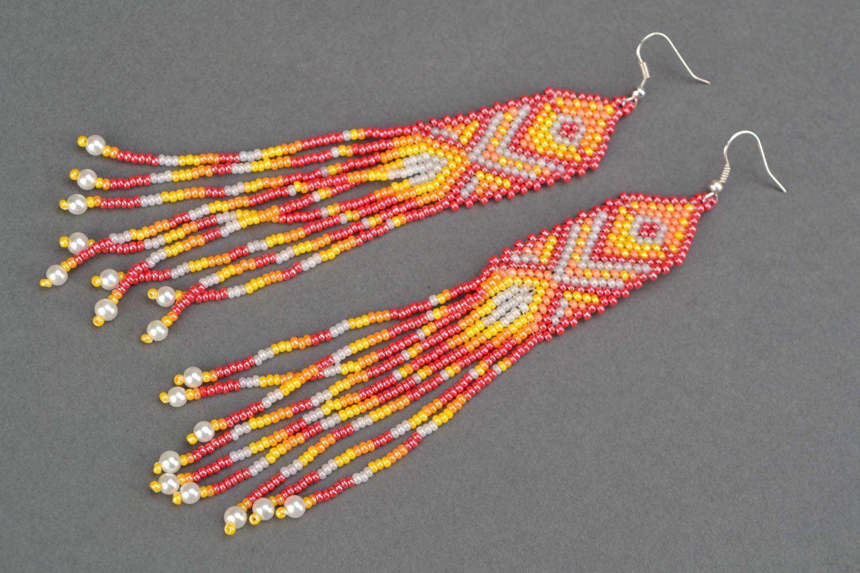 Long beaded earrings in ethnic style photo 4
