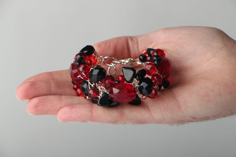Breites Armband aus böhmischen Kristallen und Agat  foto 4