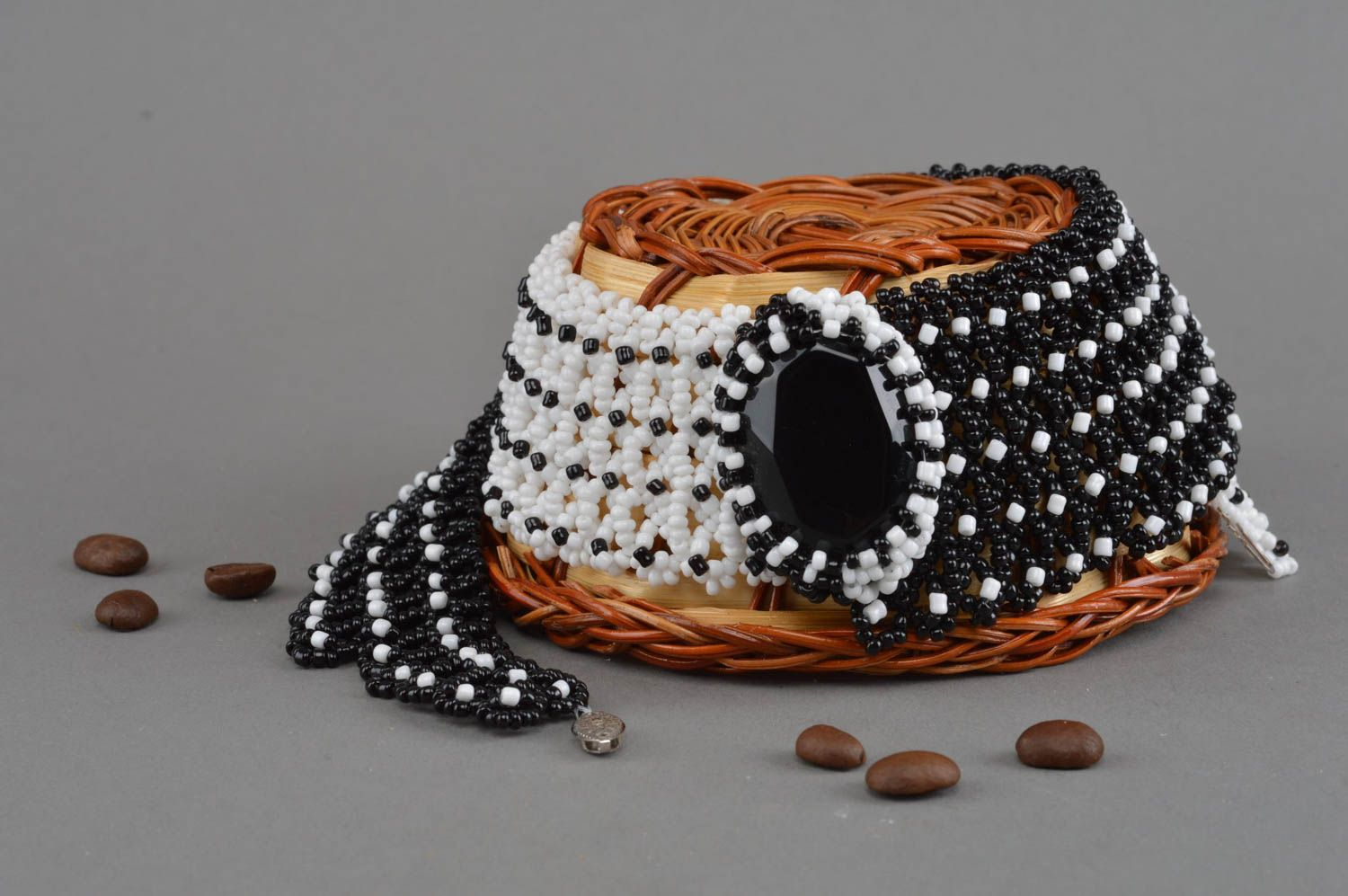 Black and white beaded necklace handmade accessory evening jewelry for women photo 1