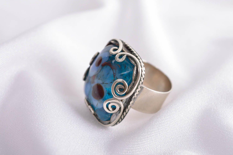 gemstone rings Handmade elegant stylish ring unusual metal ring massive female ring gift - MADEheart.com