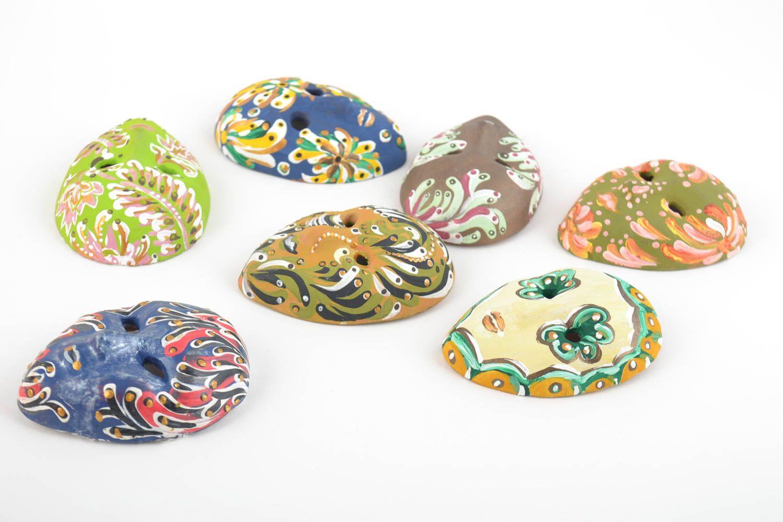 Set of 7 handmade designer souvenir ceramic fridge magnets venetian masks photo 5