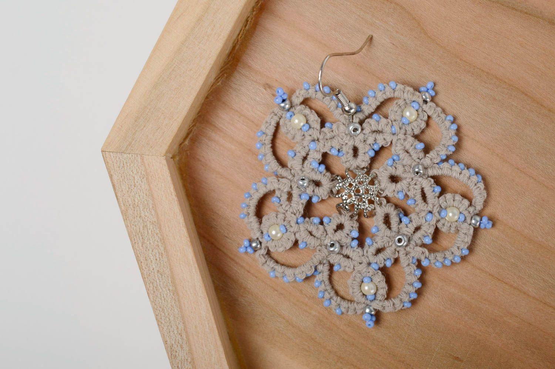 Lace crochet earrings photo 3