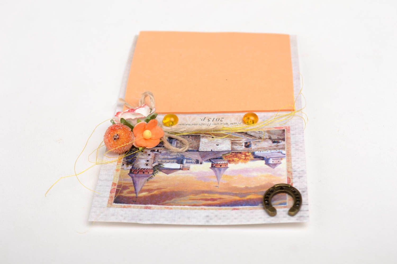 Handmade designer paper postcard stylish postcard with decor unusual souvenir photo 4