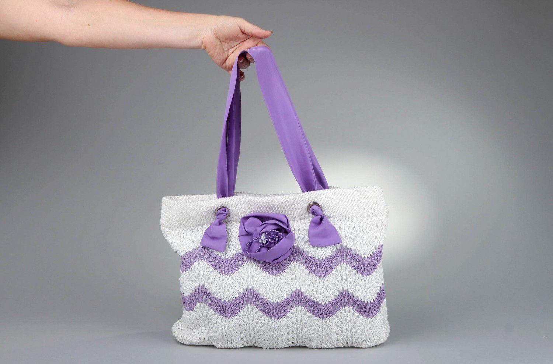 Stylish knitted cotton bag photo 5
