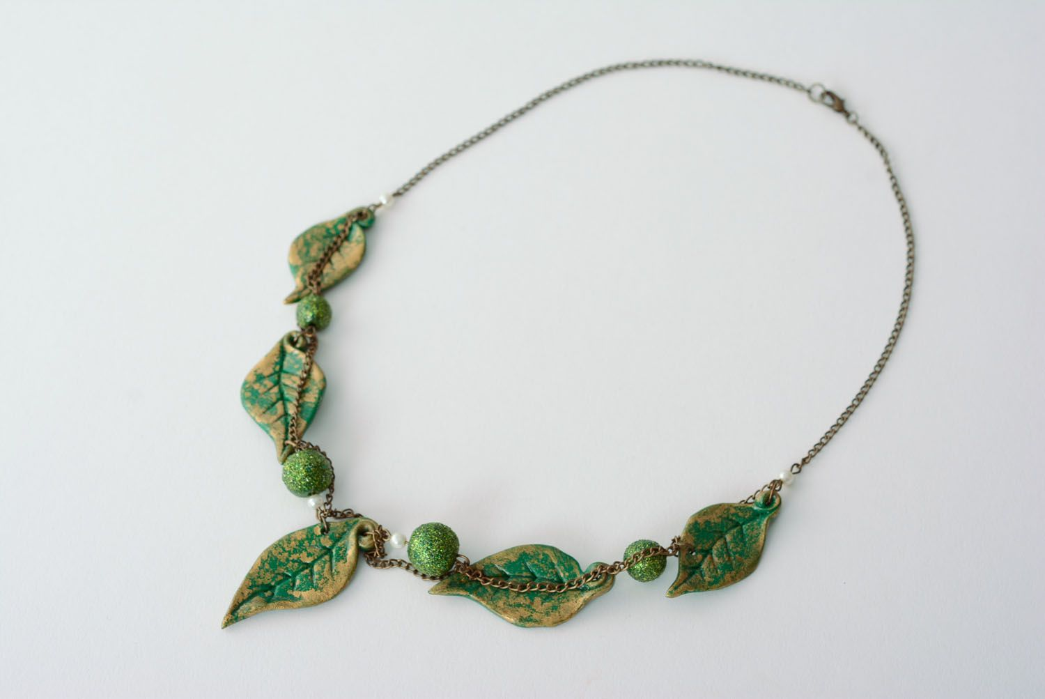 Necklace with polymer clay beads photo 3