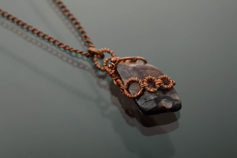 Copper thread pendant with rhodonite photo 4