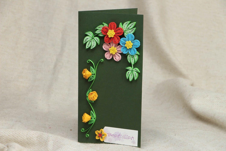 Цветы из бумаги на поздравительную открытку