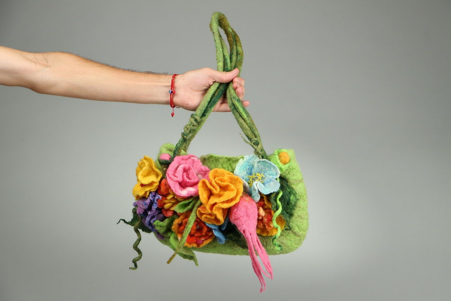 Bag made of felted wool Flower meadow photo 2