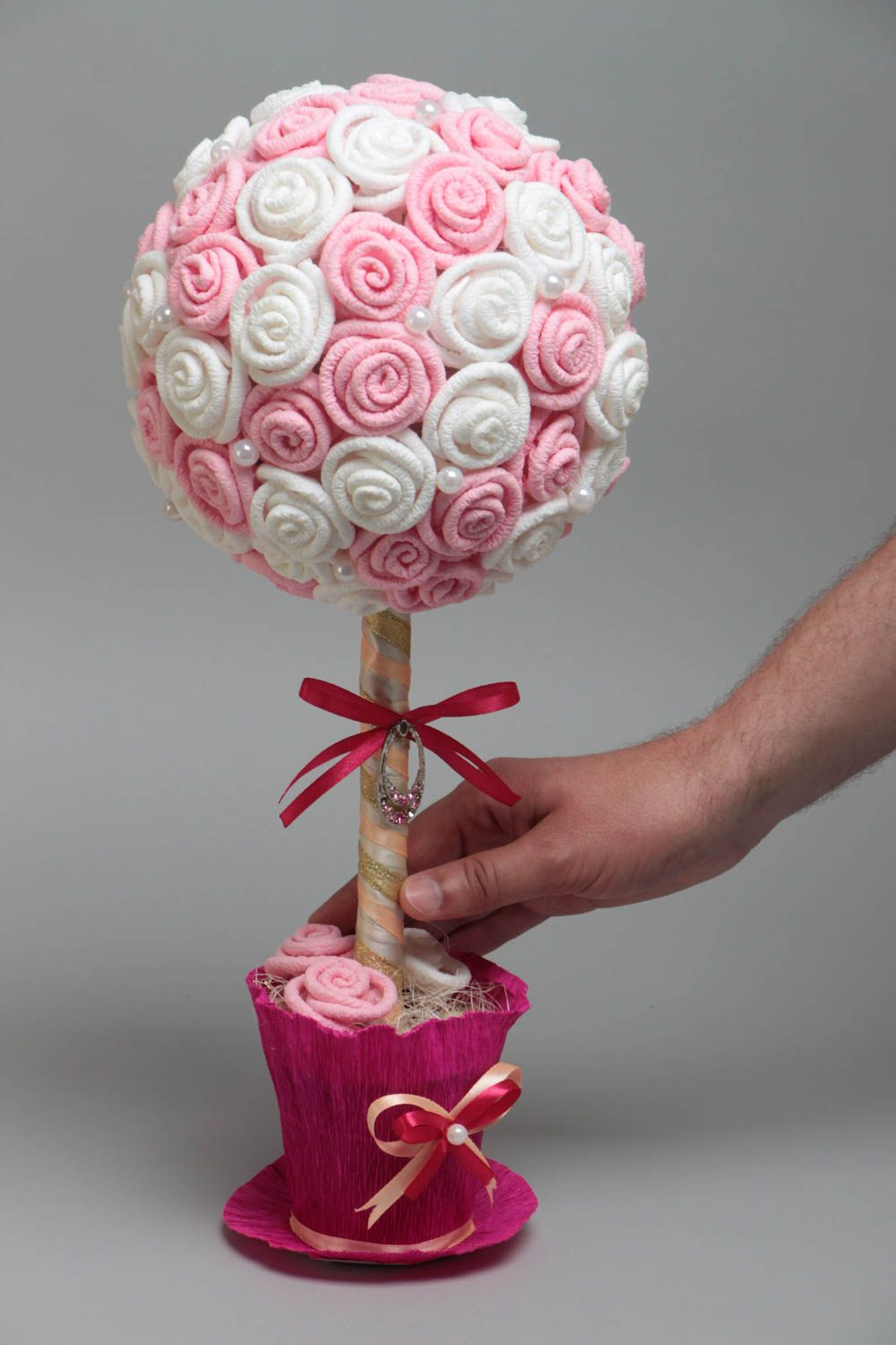 Handmade decorative topiary tree with white and pink paper roses with beads photo 5