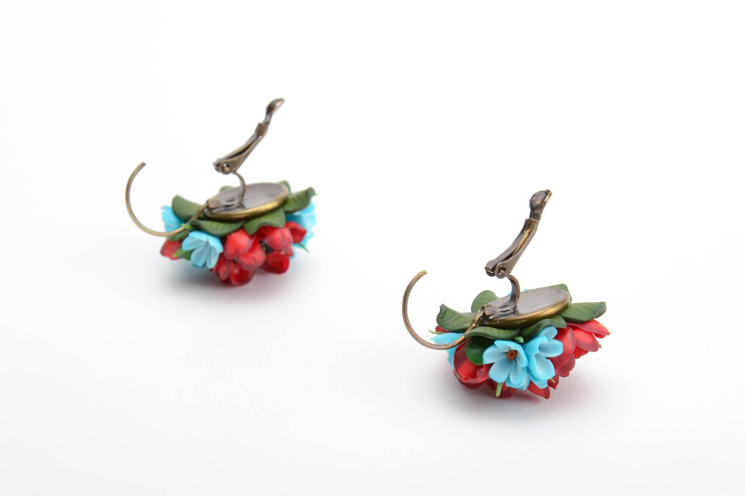 Handmade volume earrings with small red and blue polymer clay flower bouquets photo 3