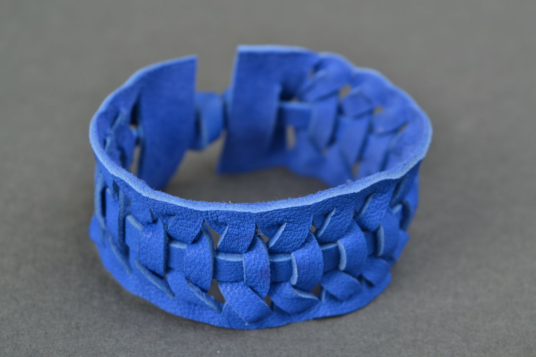 Blue woven genuine leather bracelet Electric  photo 1