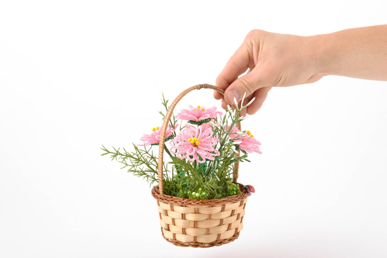 madeheart panier fleurs en perles de rocaille fait main petit d coration originale cadeau. Black Bedroom Furniture Sets. Home Design Ideas