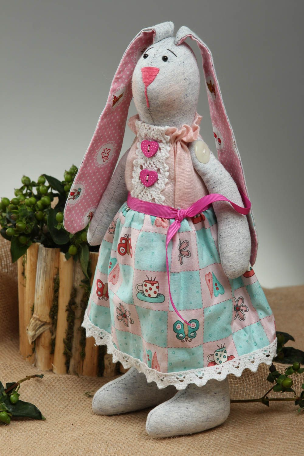 Handmade toy soft hare toy handmade hare toy fabric hare cotton toy linen toy photo 1