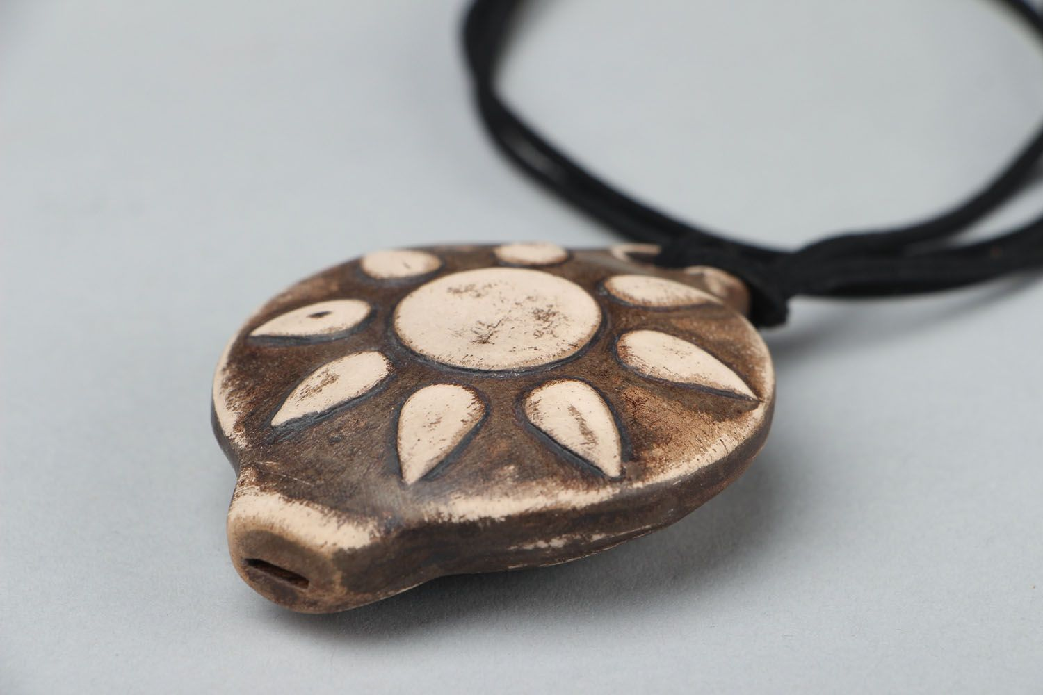 ethnic jewelry Clay pendant Whistle - MADEheart.com