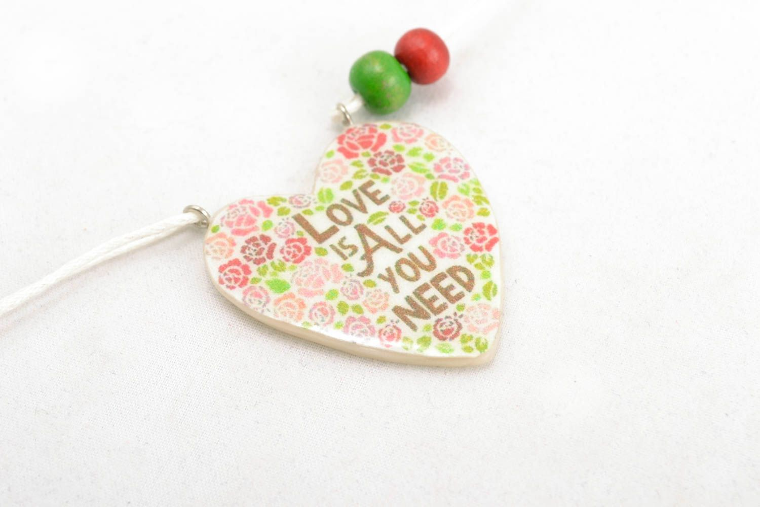 Polymer clay pendant with photo print photo 3