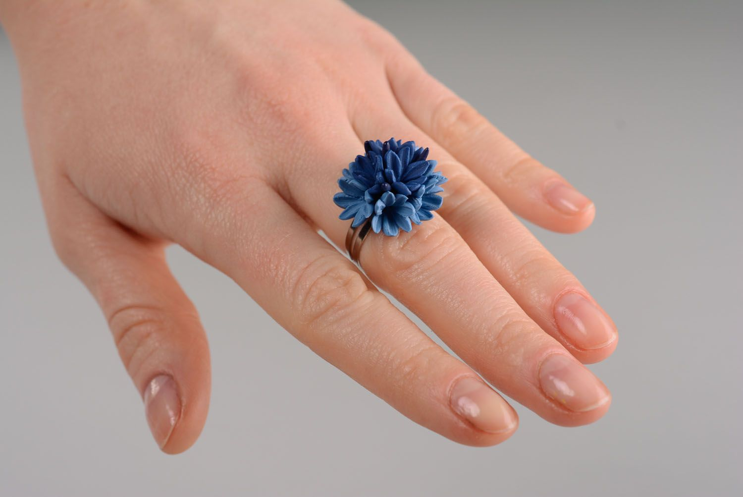 Homemade plastic ring Cornflower photo 4