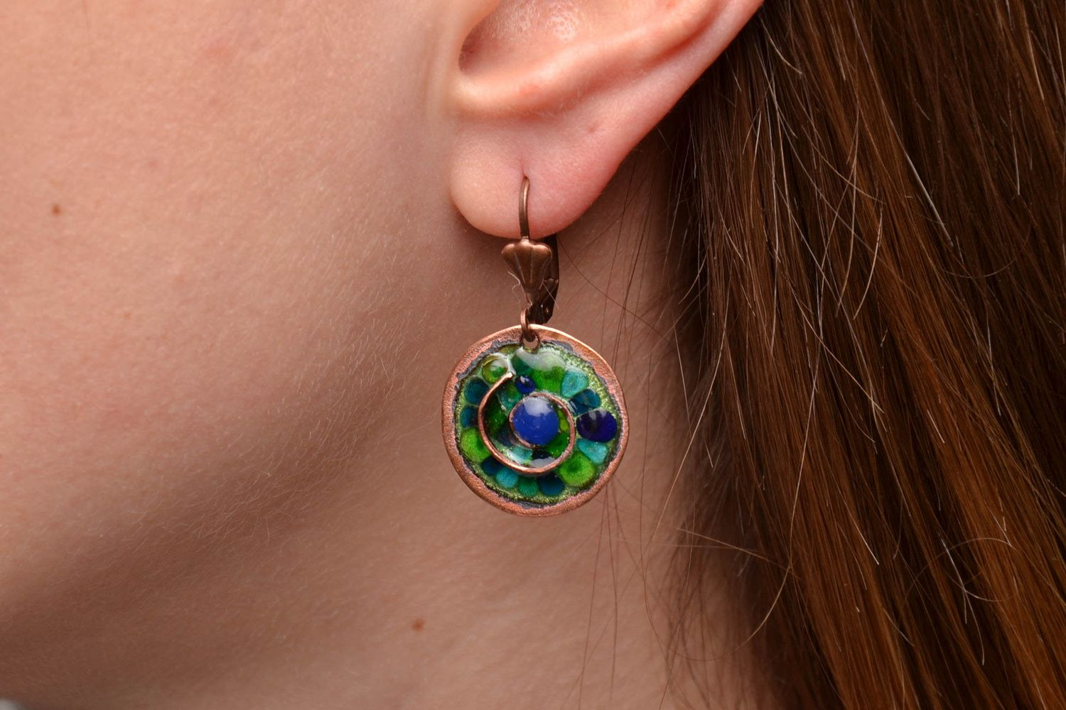 Unusual round copper earrings painted with enamels photo 2