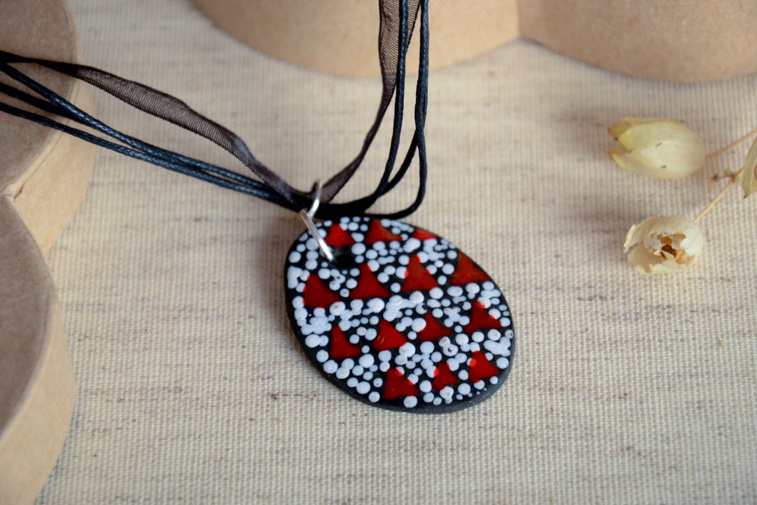 Handmade beautiful pendant unusual ceramic pendant elegant natural jewelry photo 1