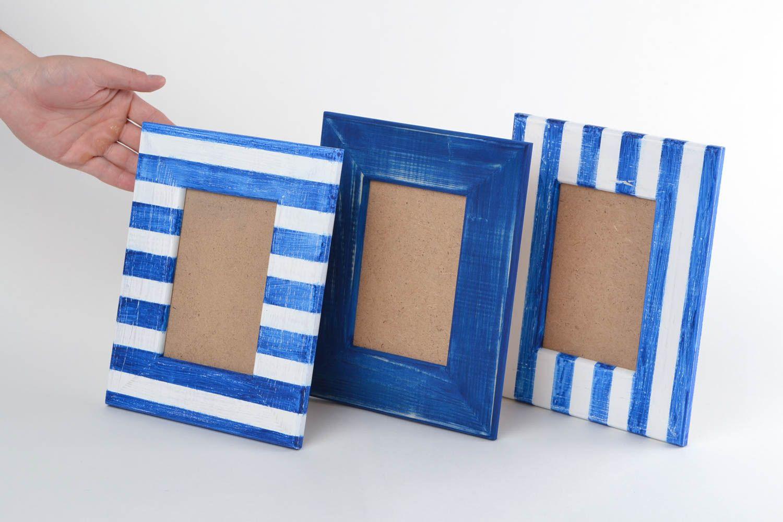 Unusual handmade designer painted wooden photo frames set 3 pieces 10х15 photo 2