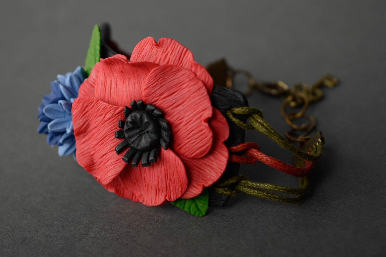 Наручный браслет с подвесками из полимерной глины фото 1