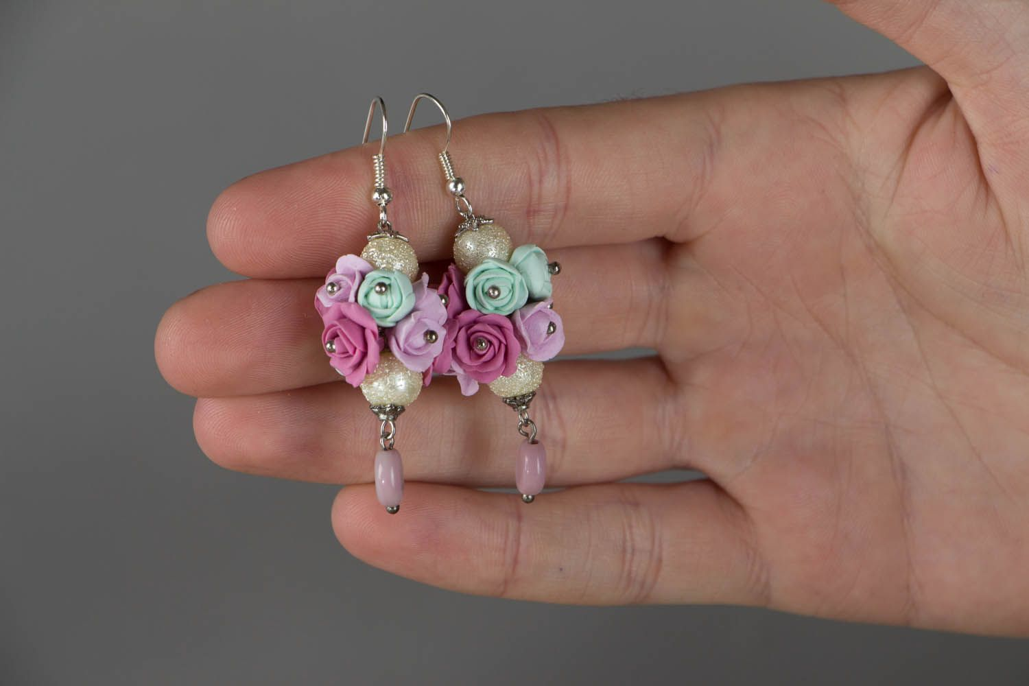Earrings with flowers made of polymer clay Roses photo 4
