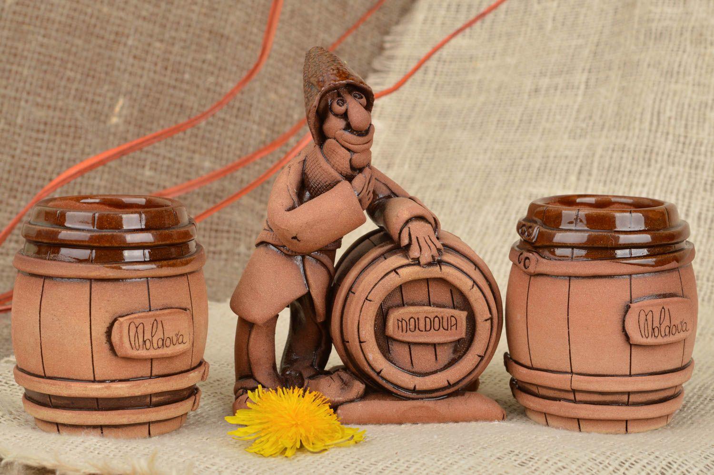 Madeheart vajilla de cer mica artesanal figura de vinicultor y 2 vasos de arcilla - Vajilla ceramica artesanal ...