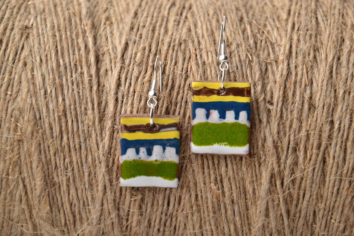 Square clay earrings photo 1