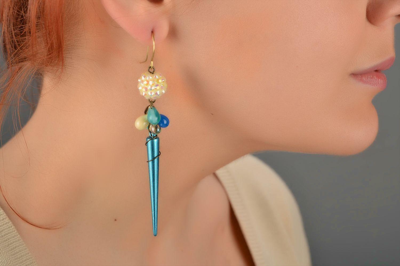 Handmade designer long earrings woven of Czech glass and acrylic beads photo 1